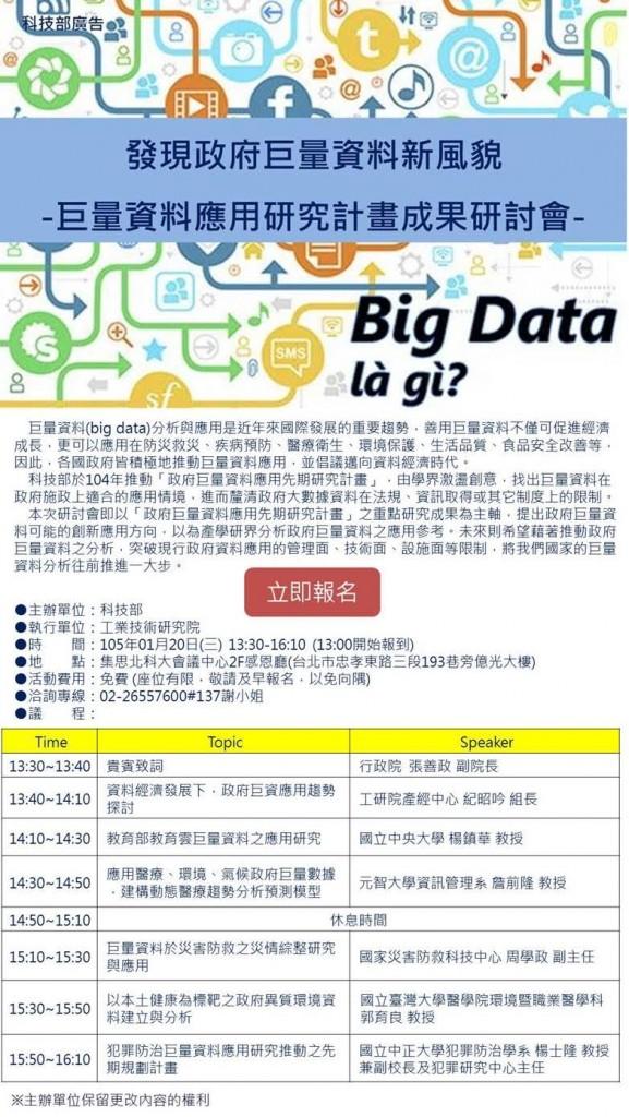 發現政府巨量資料新風貌:巨量資料應用研究計畫成果研討會(1/20)