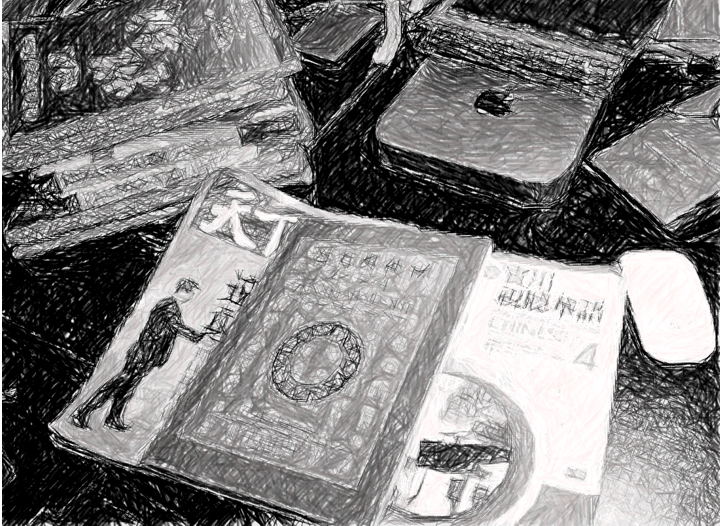 Illustration of Elan Gibb's workstation, inundated with Chinese literature
