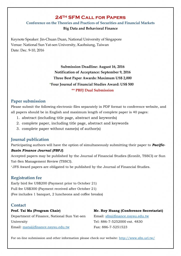 SFM Call for Papers