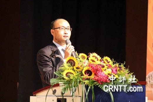 北京海峽兩岸社區發展研究中心主任劉俊華致詞。(中評社 高易伸攝)