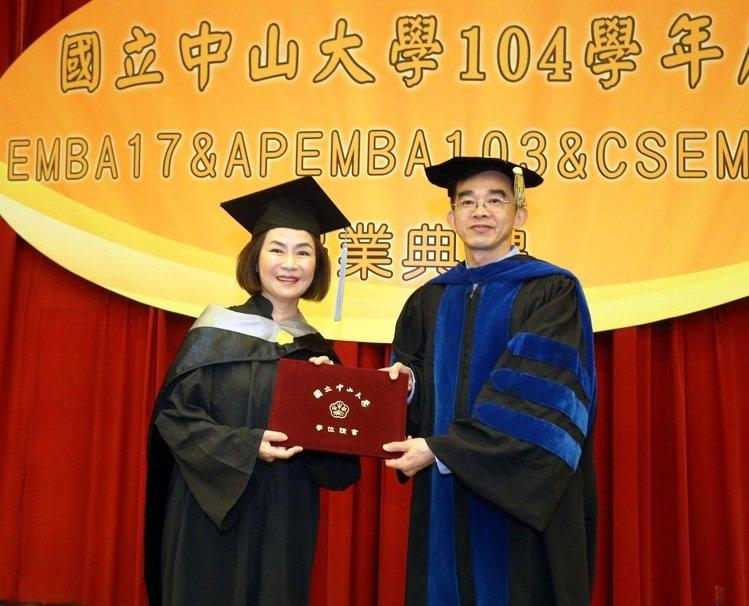 河邊餐飲集團董事長張素鑾(左)領畢業證書。記者劉學聖/攝影