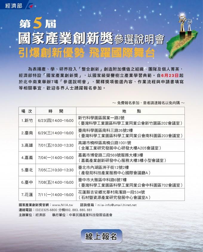第5屆國家產業創新獎北中南說明會